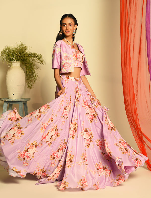 The Candy Shop- Purple Grape Crop Jacket Lehenga Set