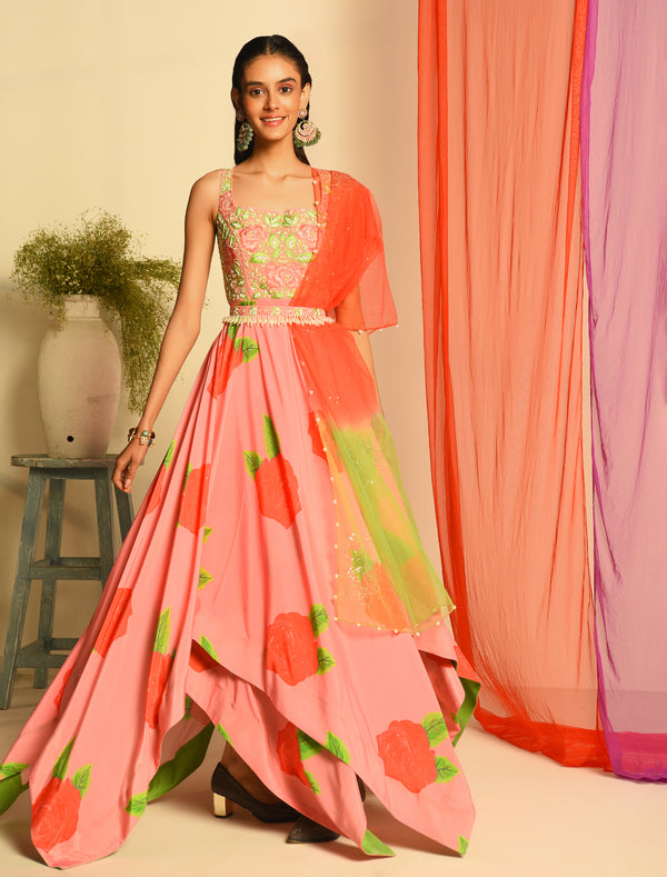 The Candy Shop- Watermelon Anarkali and Kurta Couple Set