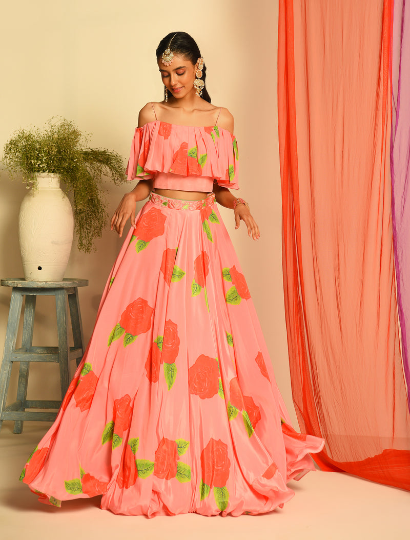 The Candy Shop - Pink and Green Watermelon Floral Crop Top and Skirt Set