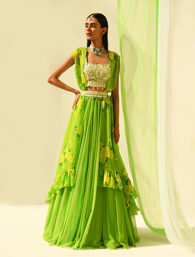 The Candy Shop- Hanna Khan in Lime Green Cape Lehenga Set