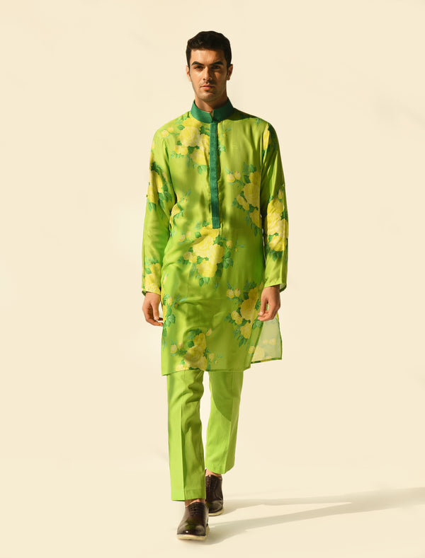 The Candy Shop- Lime Green Salwar and Kurta Couple Set