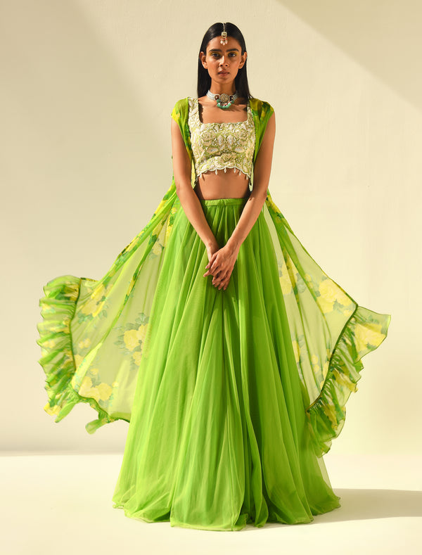 The Candy Shop- Lime Green Lehenga and Kurta Couple Set
