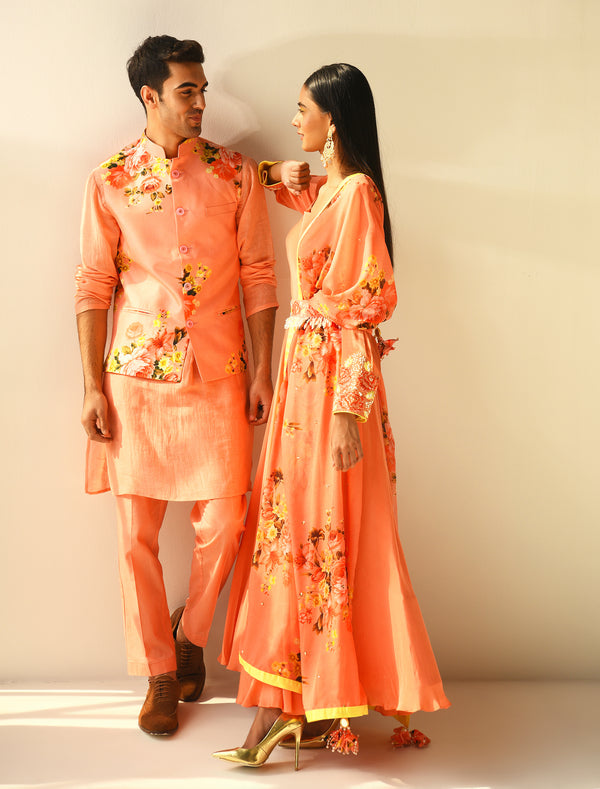 The Candy Shop- Peach Anarkali and Kurta Couple Set