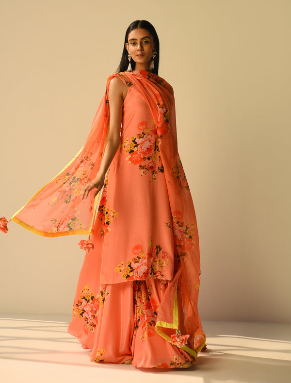 The Candy Shop- Peach Sharara and Kurta Couple Set