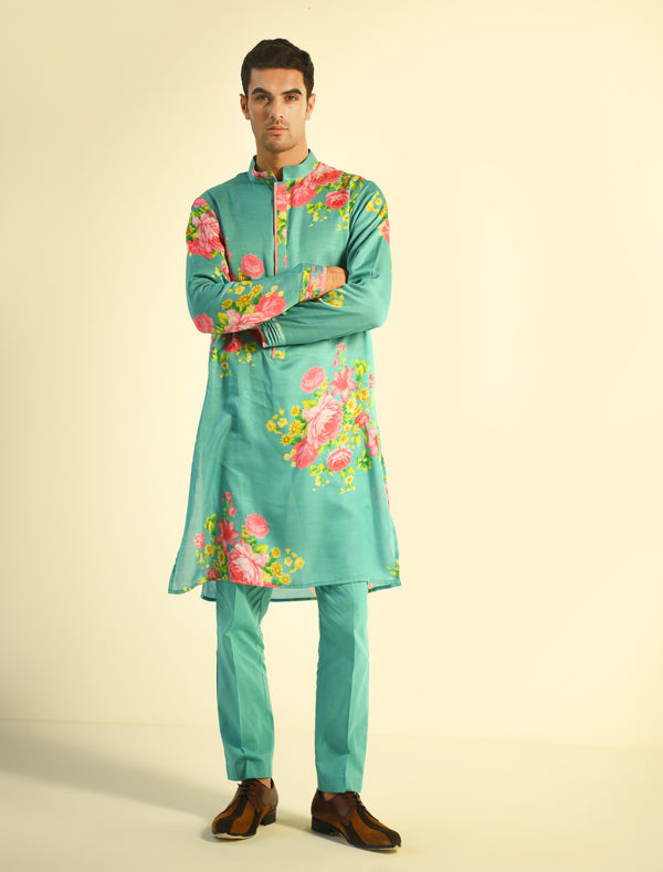 The Candy Shop- Blueberry and Strawberry Pink Printed Kurta Set