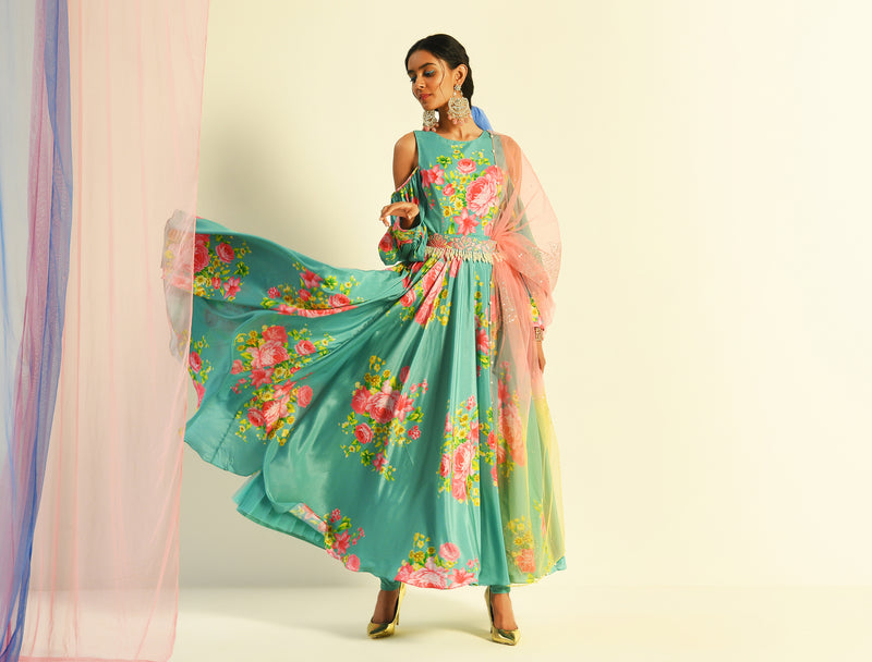 The Candy Shop - Shereen in Blueberry and Strawberry Pink printed Cold Shoulder Anarkali Set