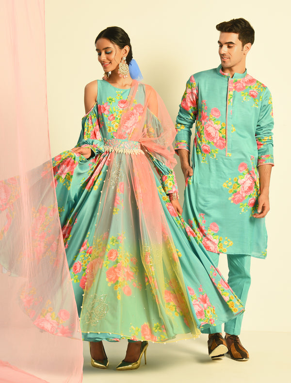 The Candy Shop- Blueberry Anarkali and Kurta Couple Set