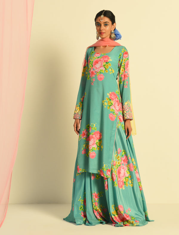 The Candy Shop- Blueberry and Strawberry Pink printed Kurta Sharara Set