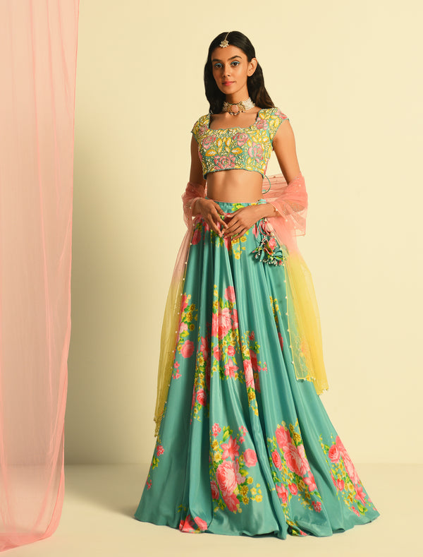The Candy Shop- Blueberry and Strawberry Pink printed Lehenga Set