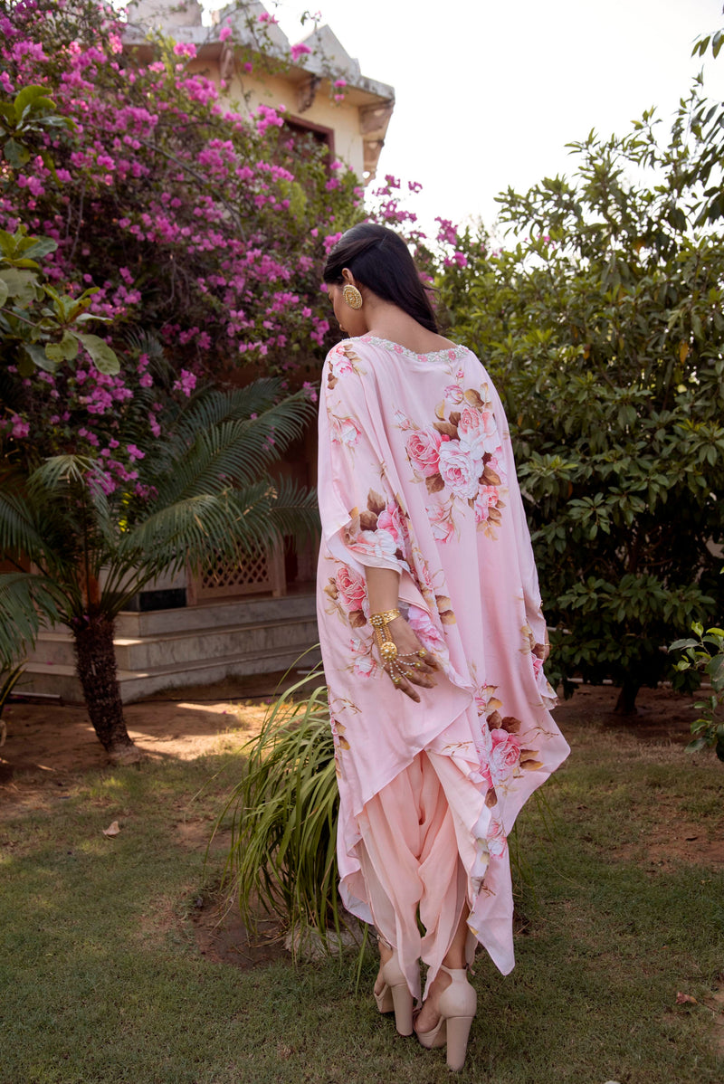 An Intimate Affaire - Baby Pink Kaaftan Lungi Set