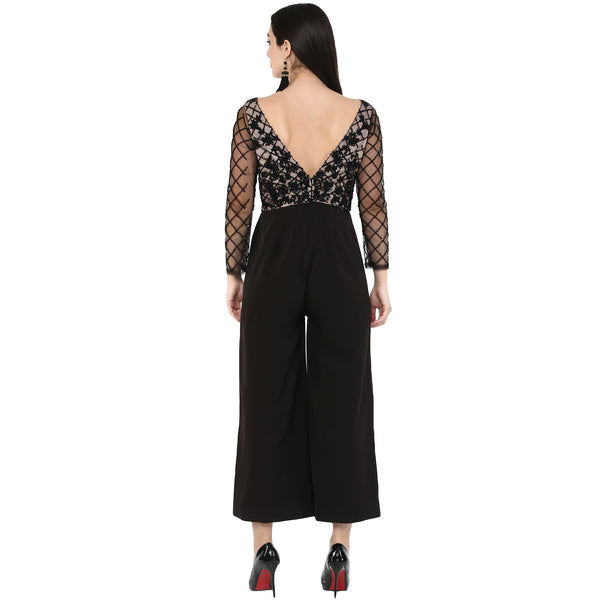 Amor - Black sheer embroidered Jumpsuit