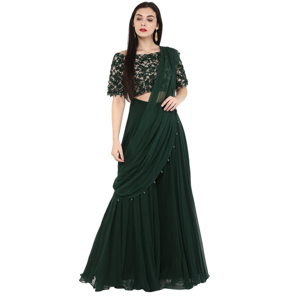 Amor - Emerald Green Sharara Sari Set