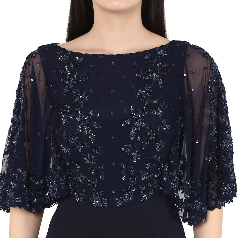 Amor - Dark Blue embroided cape Jumpsuit