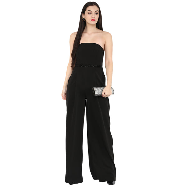 Amor - Black Embroidered cape with Jumpsuit