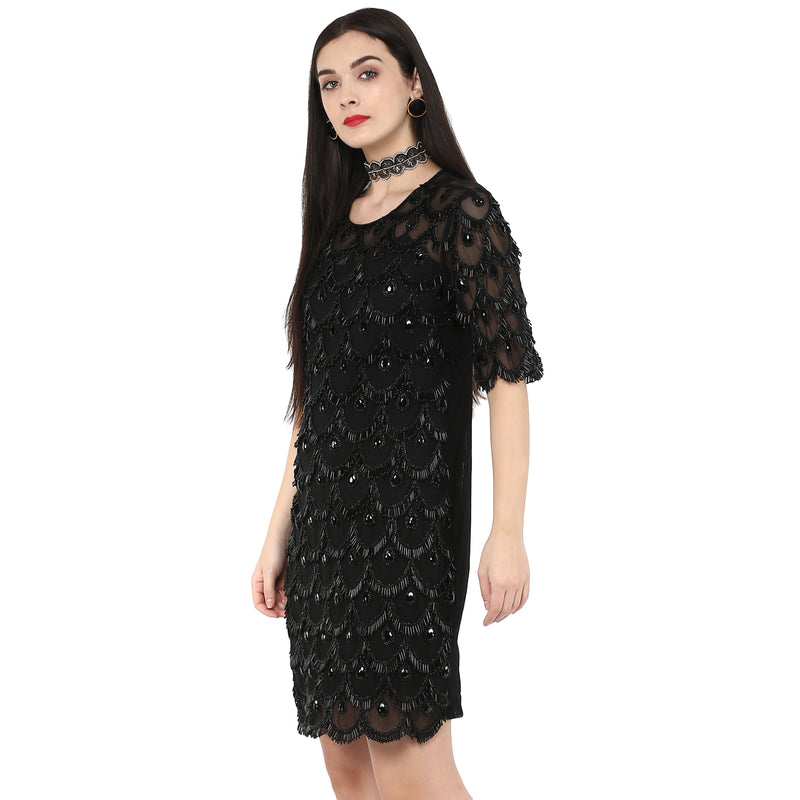 Amor - Black Embroidered Shift Dress