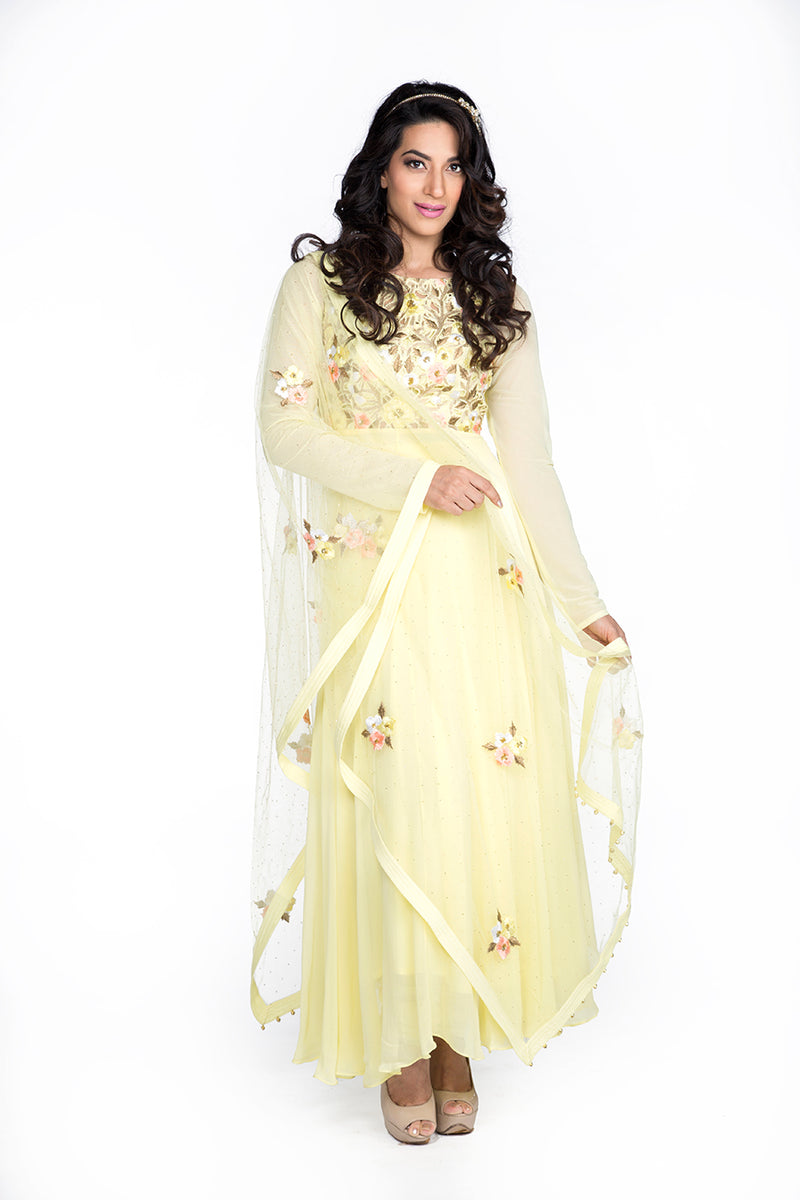 Bloom - Baby Yellow Cutwork Body Anarkali
