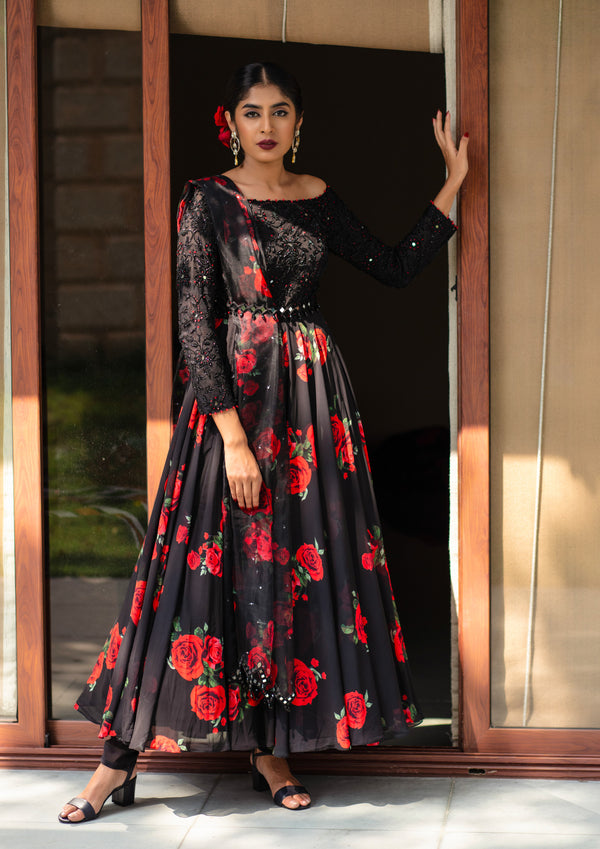 Mirror Mirror On The Wall- Black & Red Anarkali Set
