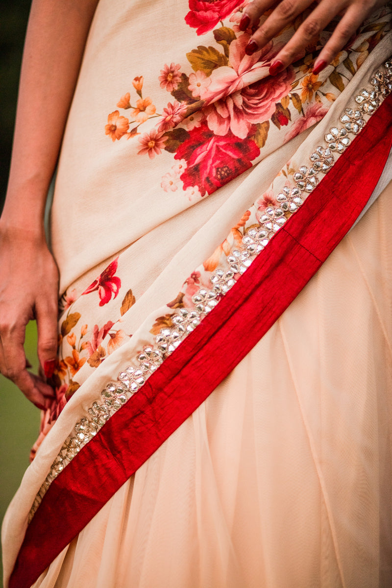 Mirror Mirror On The Wall - Beige Floral Lehnga Saree Set