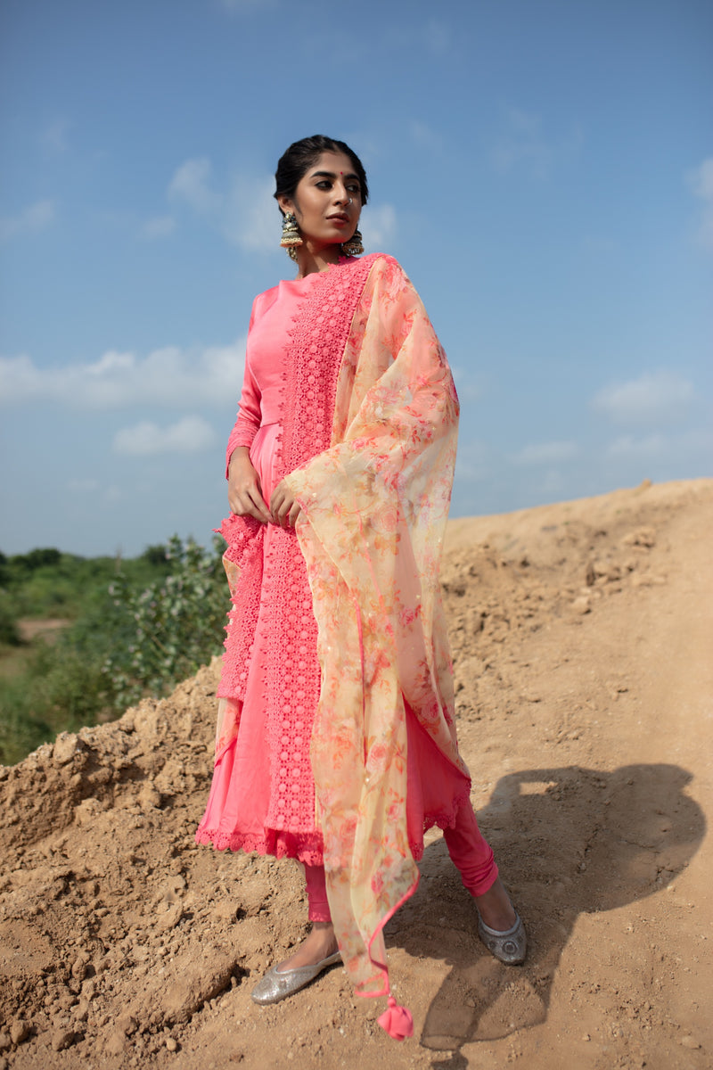 Life is a Flower - Pink and Beige Anarkali Set