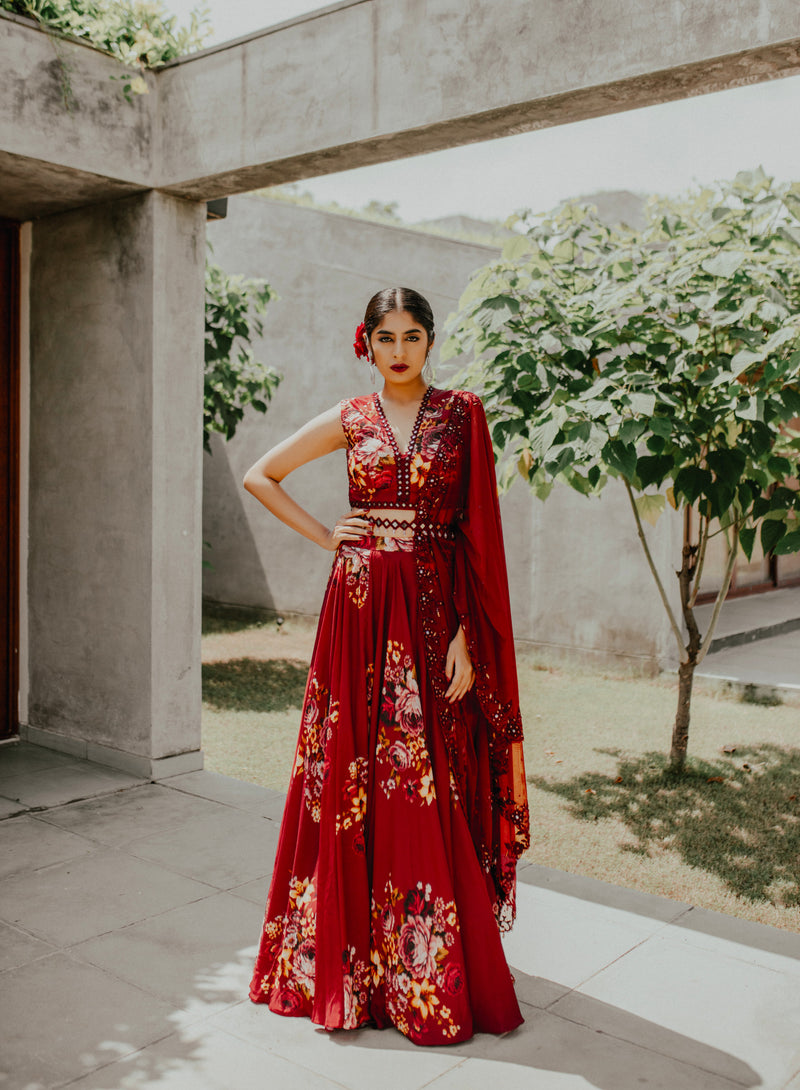 Mirror Mirror On The Wall - Maroon Floral Lehnga Set