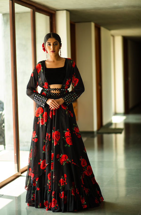 Mirror Mirror On The Wall- Black & Red Floral Cape Lehenga Set