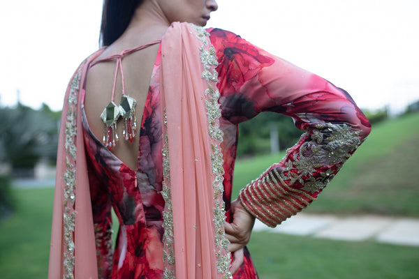 Nuna - Peach and Red floral anarkali set