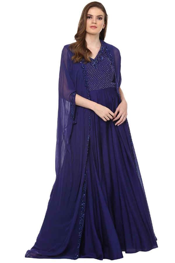 A Romantic Fable - Sarah Royal Blue embroidered Jumpsuit Set