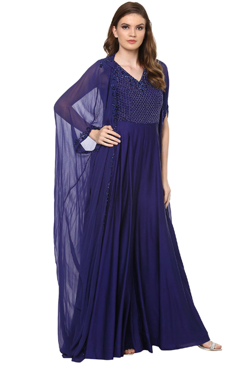 A Romantic Fable - Sarah Royal Blue embroided Jumpsuit Set