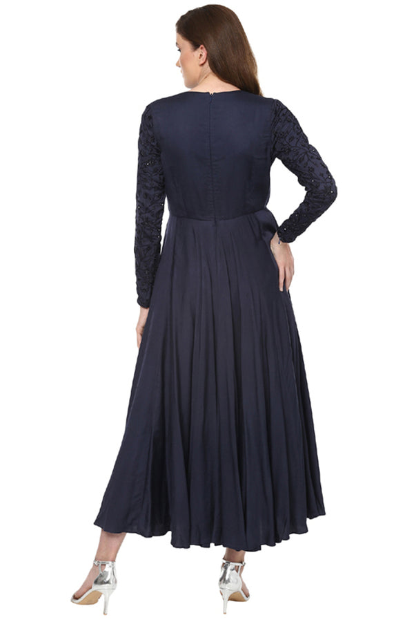 A Romantic Fable - Rosie Dark Blue hand embroided Middy Dress