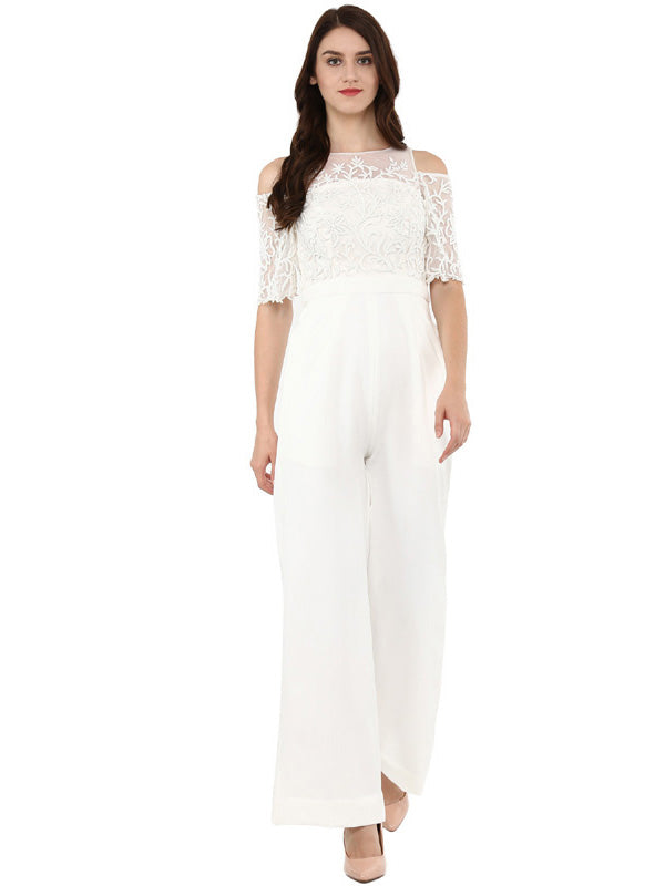 A Romantic Fable - Jessica White cold shoulder embroidered jumpsuit