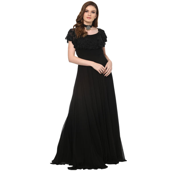 A Romantic Fable - Rosie Black offshoulder embroided cape maxi dress