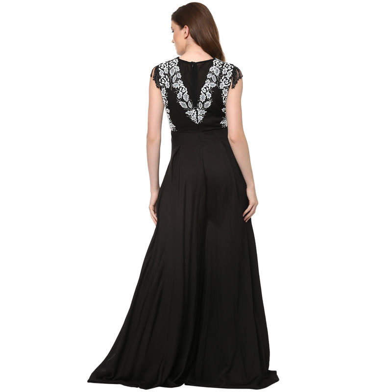 A Romantic Fable - Julie Black and white embroided Jumpsuit