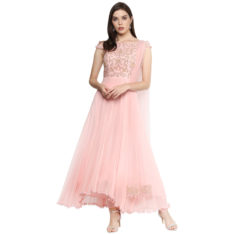 A Romantic Fable - Maria Baby pink embroided off-shoulder high low anarkali
