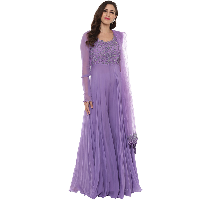 A Romantic Fable - Stella Lilac embroidered jumpsuit anarkali