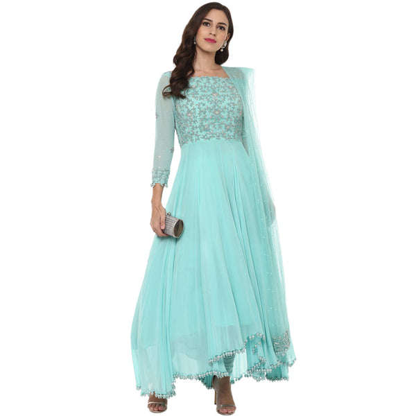 A Romantic Fable - Maria Baby Blue Embroided Anarkali