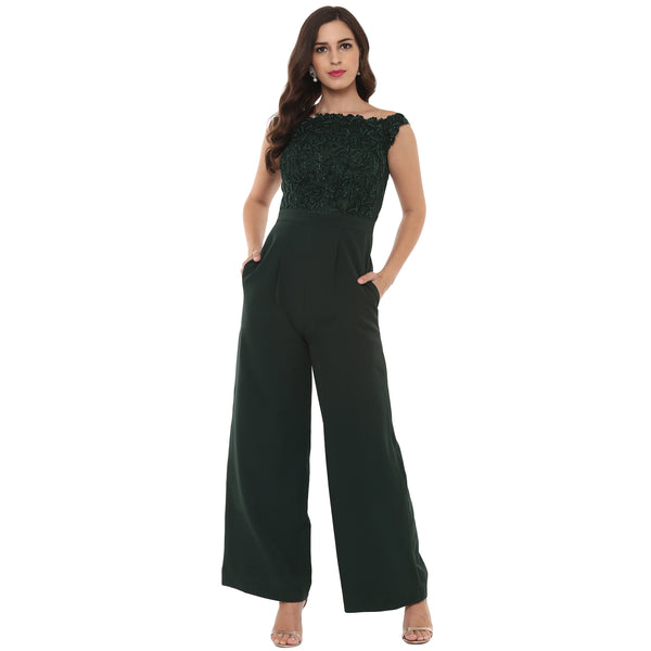 A Romantic Fable - Katrina Emerald Green Embroidered Jumpsuit
