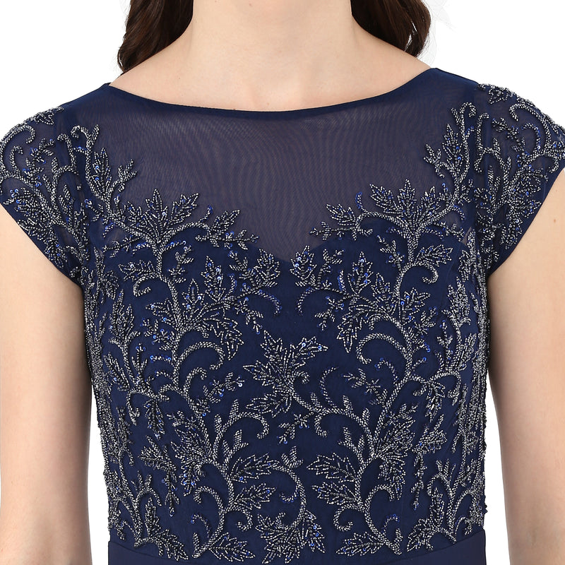 A Romantic Fable - Katrina Navy Blue Embroidered Jumpsuit