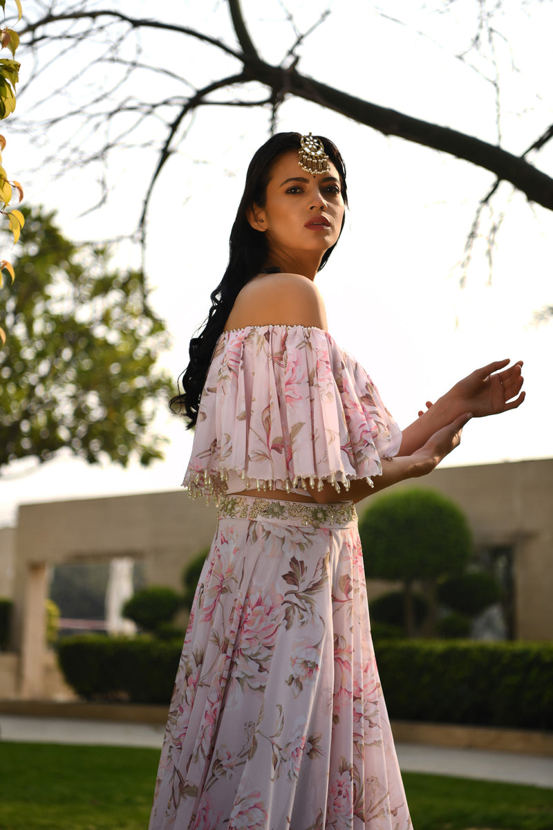 Once Upon a Time - Blush Pink Embroided Crop Top and Skirt Set