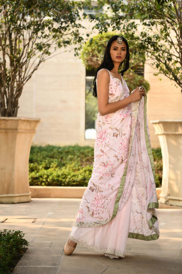 Once Upon a Time - Blush Pink Half & Half Pre-tied Sari