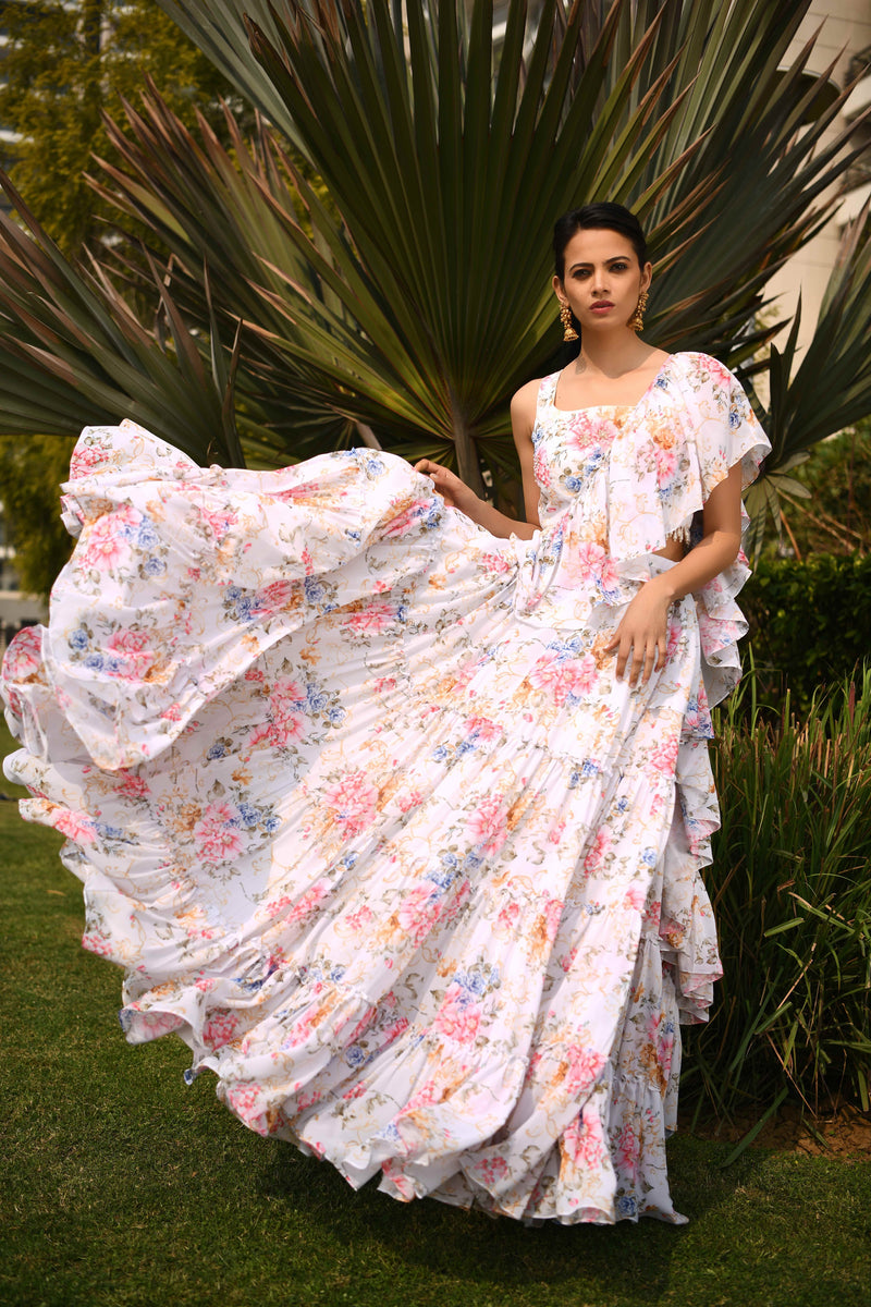 Once Upon a Time - Ivory Printed Ruffle lehnga Set