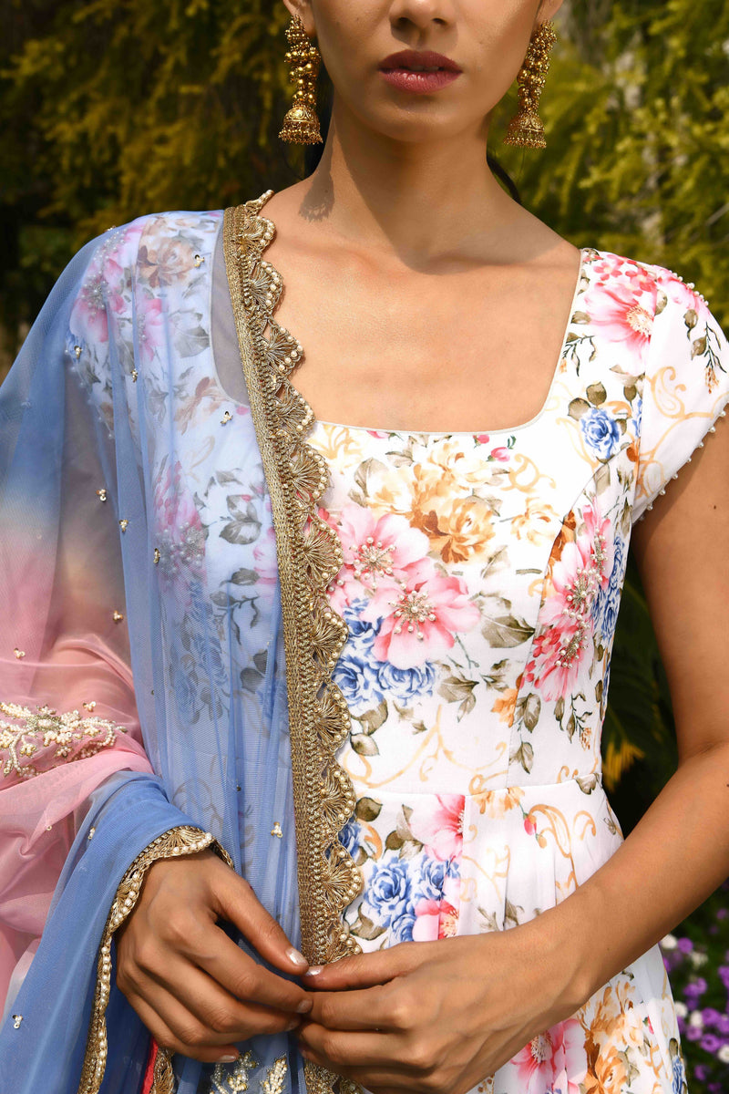 Once Upon a Time - Aamna Sharif in Ivory Printed Anarkali with shaded dupatta