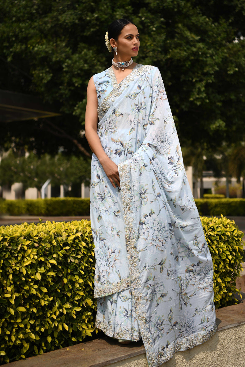 Once Upon a Time - Pale Blue printed Sari Set