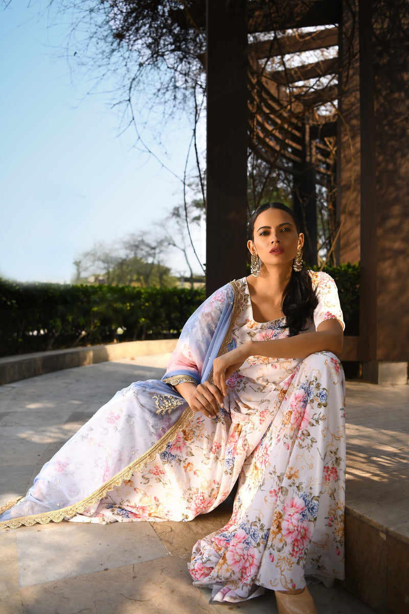 Once Upon a Time - Ivory Printed Sharara Kurta Set