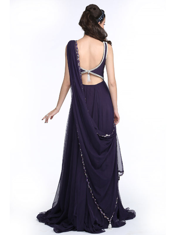 ELSA - Midnight Purple Gown with Drape