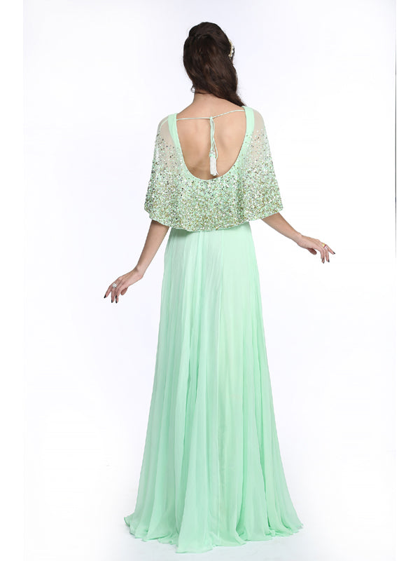 ELSA - Mint Green Cape Gown