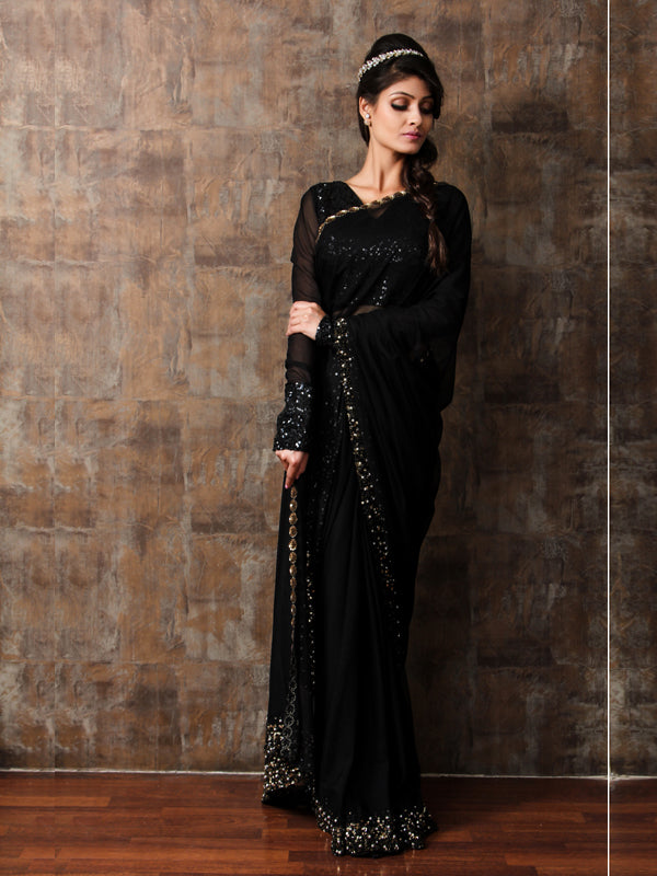 ELSA - Black Embroided Sari