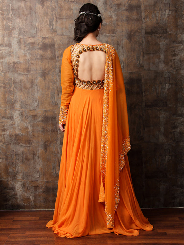 ELSA - Orange Embroided Anarkali