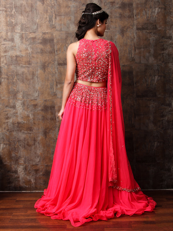 ELSA - Coral Embroided Lehnga Set