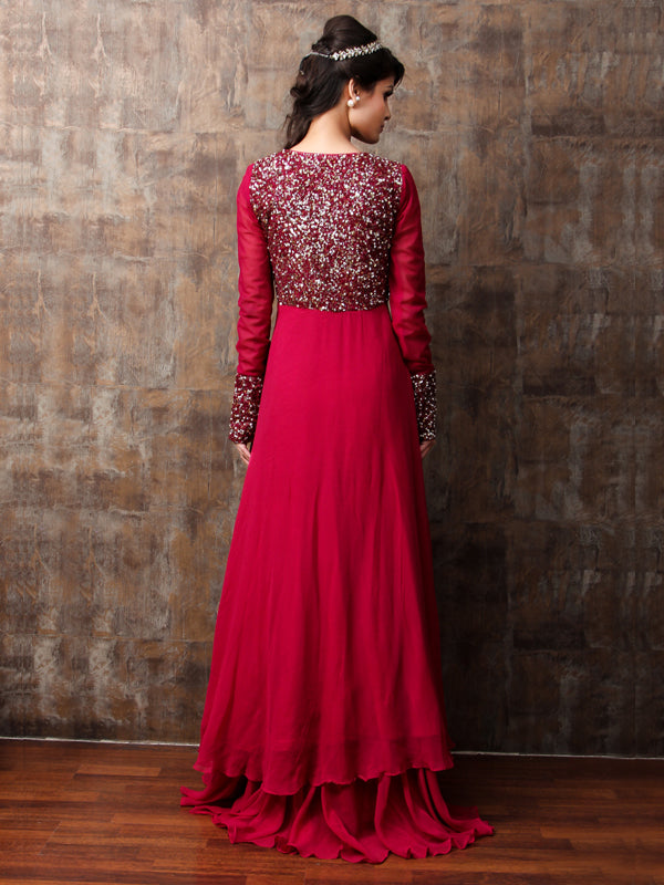 ELSA - Margenta Pink Embroided Lehnga Set