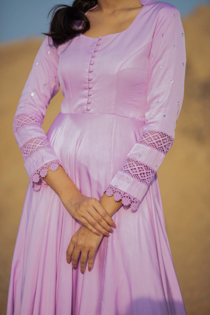 Life is a Flower - Mauve Anarkali Set